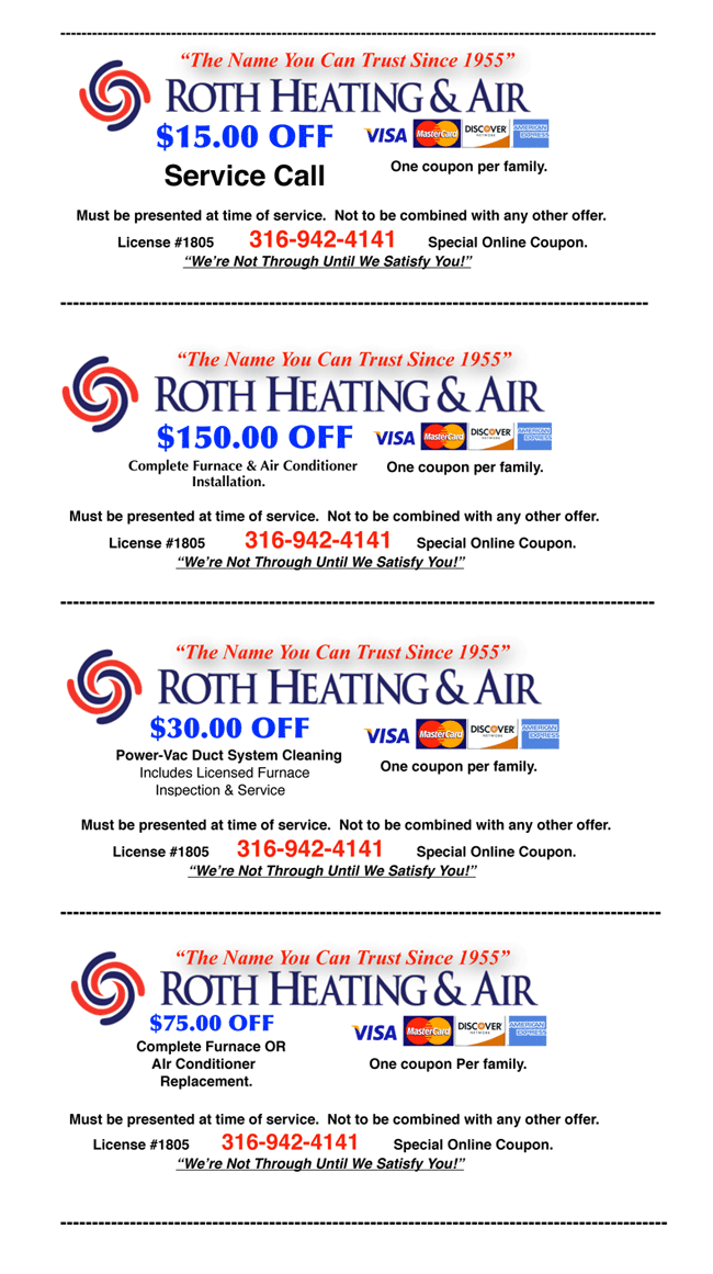 Roth Online Coupon Specials
